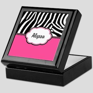 Zebra Print Pink Personalized Keepsake Box