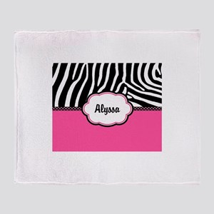 Zebra Print Pink Personalized Throw Blanket