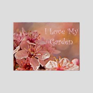 I Love My Garden Pink Flowers 5'x7'Area Rug