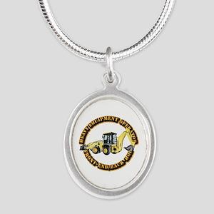 Hvy Eq Opr - Front End/Backho Silver Oval Necklace
