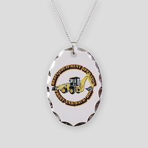 Hvy Eq Opr - Front End/Backhoe Necklace Oval Charm