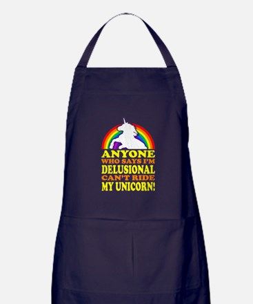 Funny! Delusional Unicorn Apron (dark)