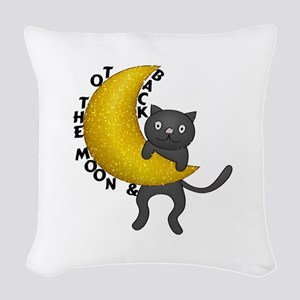 To The Moon & Back Kitty Cat Woven Throw Pillow