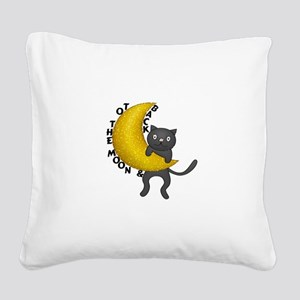 To The Moon & Back Kitty Cat Square Canvas Pillow