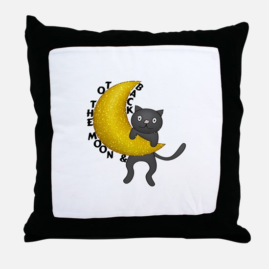 To The Moon & Back Kitty Cat Throw Pillow