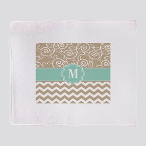 Beige Blue Chevron Monogram Throw Blanket