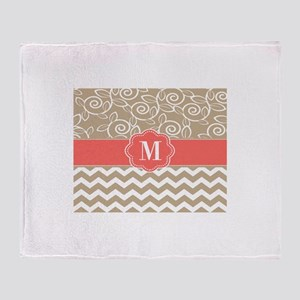 Beige Coral Chevron Monogram Throw Blanket