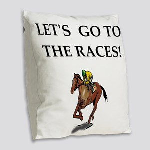horse racing Burlap Throw Pillow