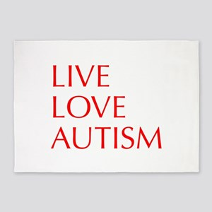LIVE-LOVE-AUTISM-opt-red 5'x7'Area Rug