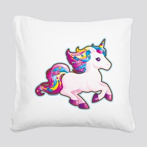 Kawaii Magical Candy Unicorn Square Canvas Pillow