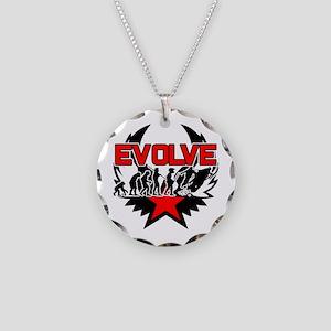Snowmobile Evolution Necklace Circle Charm