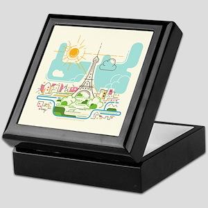 Abstract Paris City Skyline Travel Eu Keepsake Box