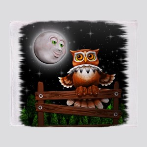 Surreal Owl and Moon Throw Blanket