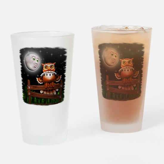 Surreal Owl and Moon Drinking Glass