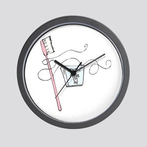 Toothbrush And Floss Dentist Wall Clock