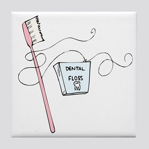 Toothbrush And Floss Dentist Tile Coaster