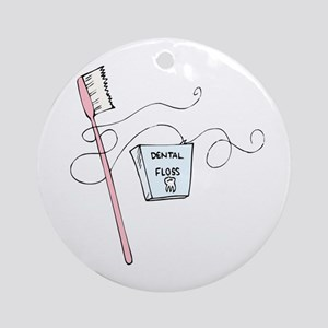 Toothbrush And Floss Dentist Ornament (Round)