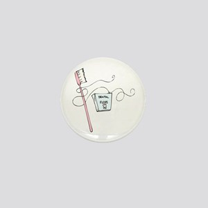 Toothbrush And Floss Dentist Mini Button