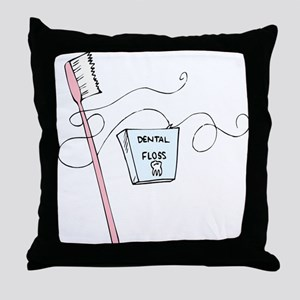 Toothbrush And Floss Dentist Throw Pillow
