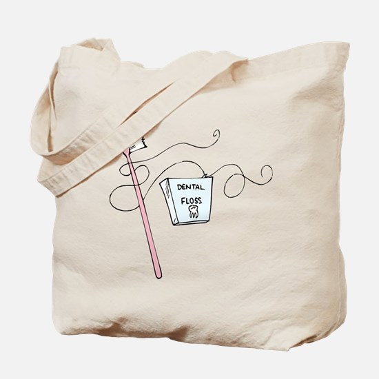 Toothbrush And Floss Dentist Tote Bag