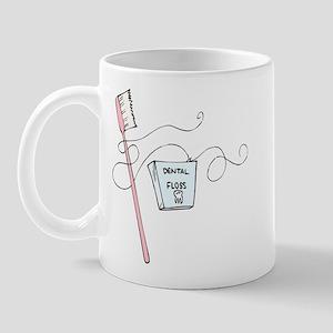 Toothbrush And Floss Dentist Mug