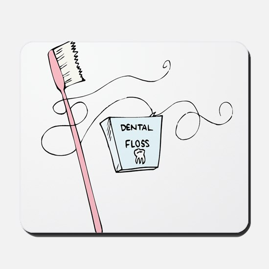 Toothbrush And Floss Dentist Mousepad