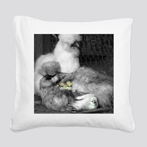 Black and White Silkie Chicke Square Canvas Pillow