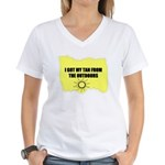 I GOT MY TAN FROM THE OUTDOORS Women's V-Neck T-Sh