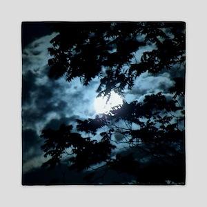 Moon through the trees. Queen Duvet
