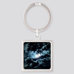 Moon through the trees. Square Keychain