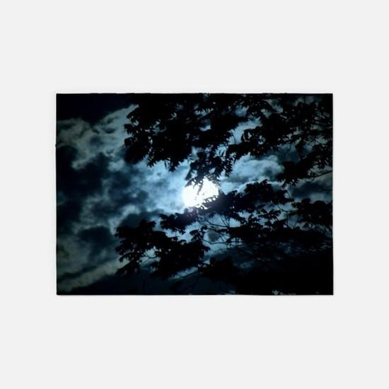 Moon through the trees. 5'x7'Area Rug