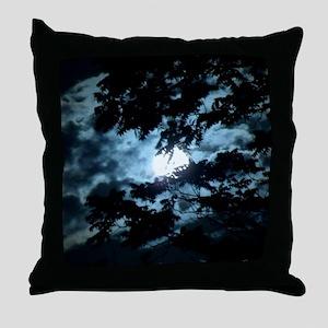 Moon through the trees. Throw Pillow