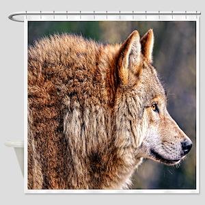 Golden Wolf Shower Curtain