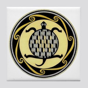 MIMBRES SWIMMING TURTLE BOWL DESIGN Tile Coaster