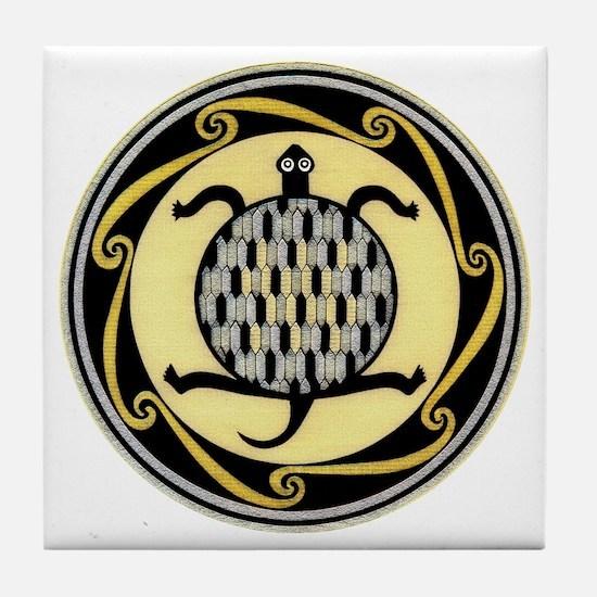 MIMBRES SWIMMING TURTLE BOWL DESIGN Tile Coaster