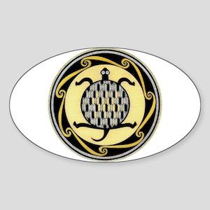 MIMBRES SWIMMING TURTLE BOWL DESIGN Oval Sticker