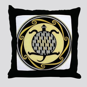 MIMBRES SWIMMING TURTLE BOWL DESIGN Throw Pillow