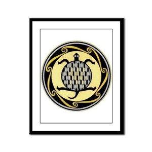 MIMBRES SWIMMING TURTLE BOWL DESIGN Framed Panel P