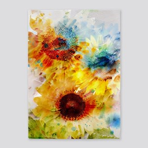 Watercolor Sunflowers 5'x7'area Rug