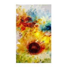 Watercolor Sunflowers Area Rug