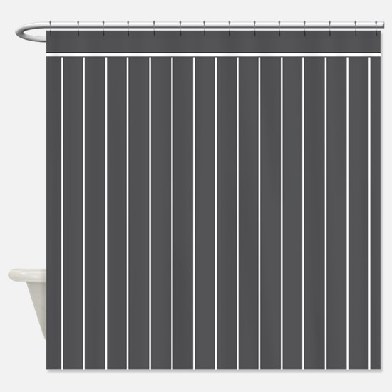 Vertical White Pinstripe on CHARCOAL GREY Backgro
