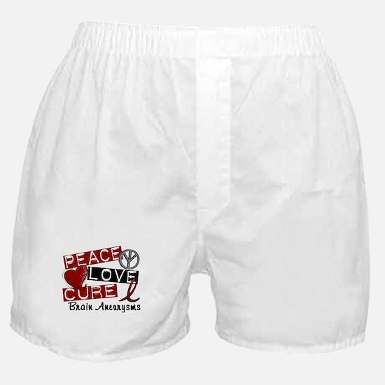 Brain Aneurysm Peace Love Cure 1 Boxer Shorts