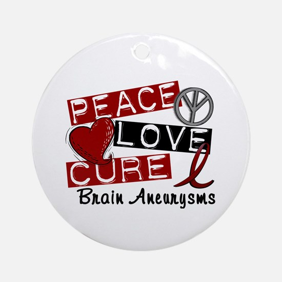 Brain Aneurysm Peace Love Cure 1 Ornament (Round)