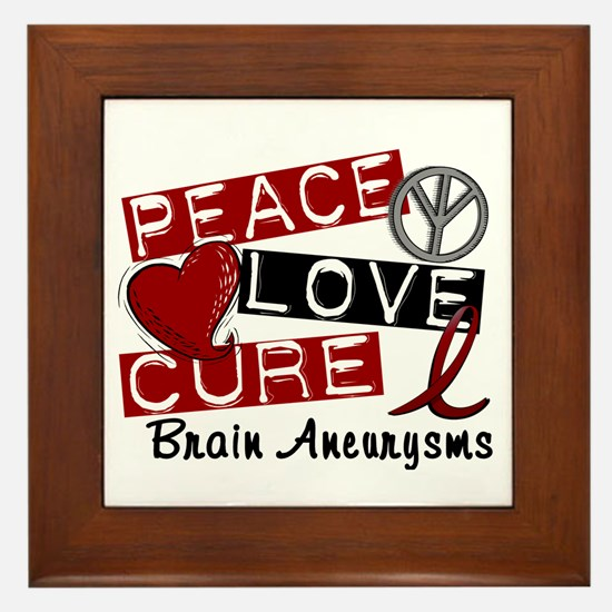 Brain Aneurysm Peace Love Cure 1 Framed Tile