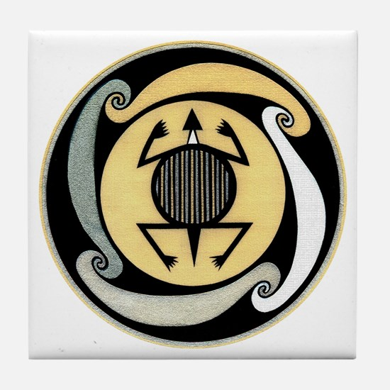 MIMBRES WATER TURTLE BOWL DESIGN Tile Coaster