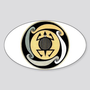MIMBRES WATER TURTLE BOWL DESIGN Oval Sticker