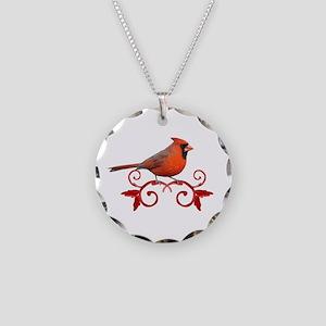 Beautiful Cardinal Necklace Circle Charm