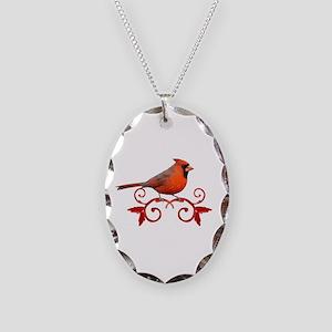 Beautiful Cardinal Necklace Oval Charm