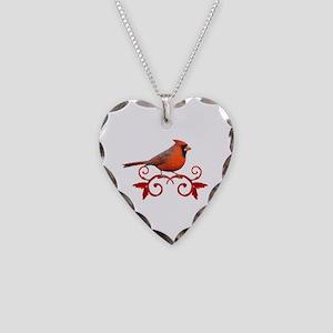 Beautiful Cardinal Necklace Heart Charm