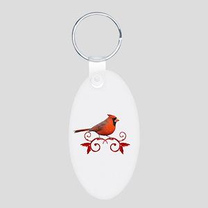 Beautiful Cardinal Aluminum Oval Keychain
